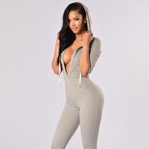 Fashion Nova Other - Fashion Nova Hooligan Hooded Deep V Jumpsuit Med